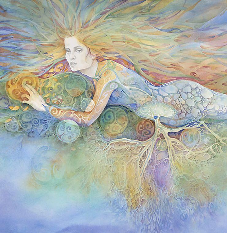 """""""The Divine Feminine (detail)"""" par Helena Nelson-Reed"""