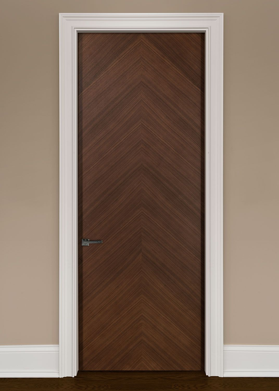Modern Walnut Solid Wood Front Entry Door - Single - GDIM-FL2050