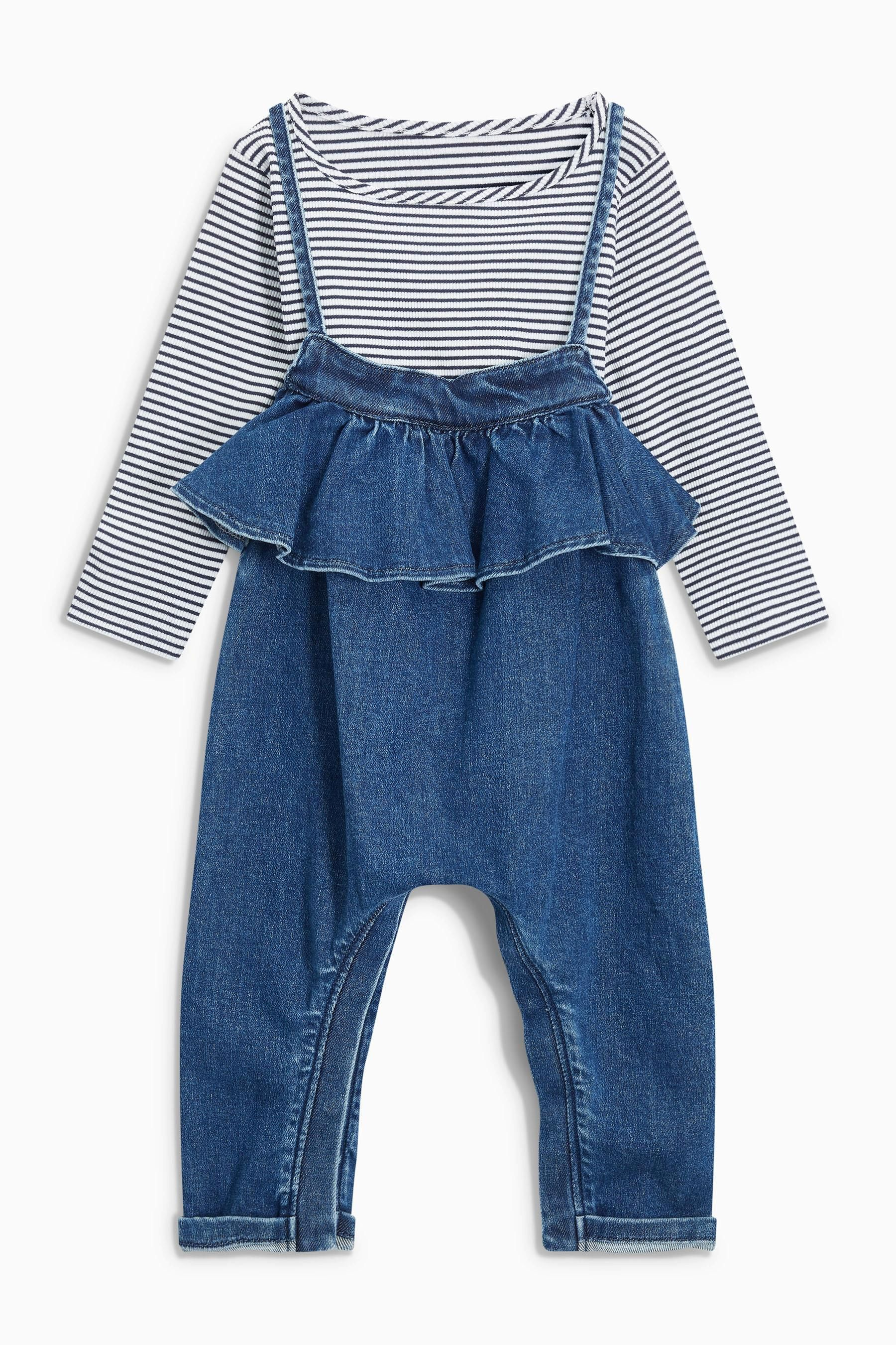 7e3d292a062 Buy Denim Dark Blue Ruffle Playsuit And T-Shirt Set (3mths-6yrs) from the  Next UK online shop