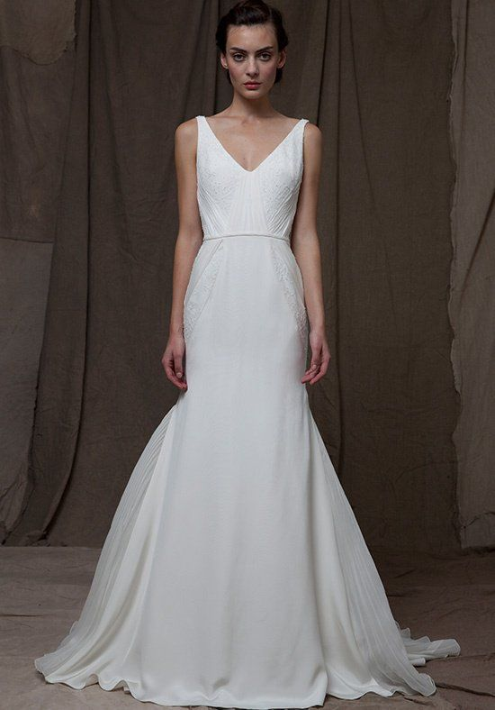 Silk Crepe V Neck Gown With Chiffon And Lace Inserts