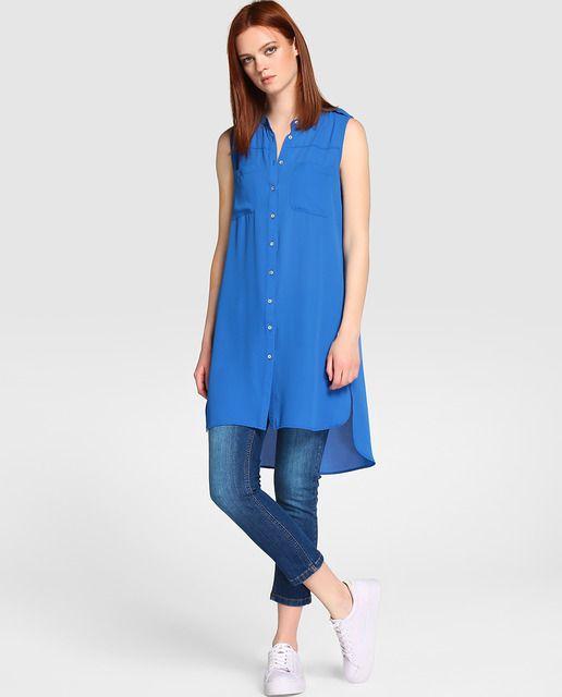 c74b76a592c3e Blusa larga de mujer Fórmula Joven en azul