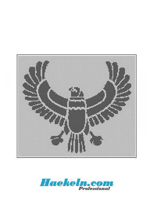 Häkeln Filethäkelvorlage ♥ Großer Vogel Anleitung Filethäkeln ...