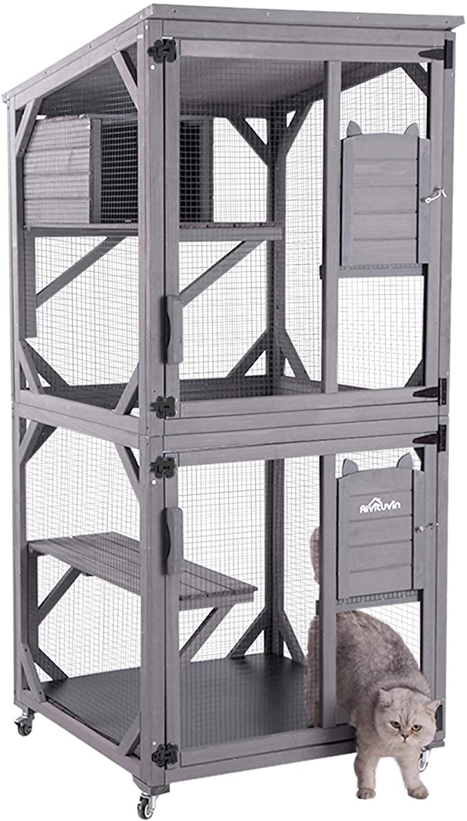 Aivituvin Outdoor Cat House Cat Cages Enclosures On Wheels Indoor Large Kitten Kennel 70 9 Upgra Outdoor Cat House Outdoor Cat Shelter Cat Cages