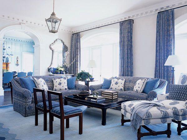 blue white living room decor | blue-and-white living room