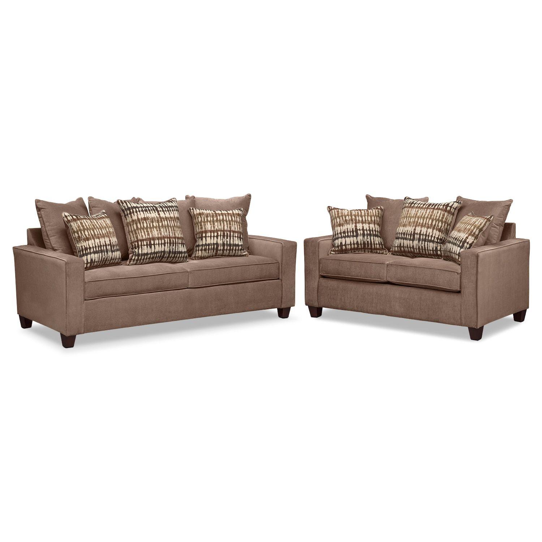 Bryden Queen Memory Foam Sleeper Sofa And Loveseat Set Chocolate