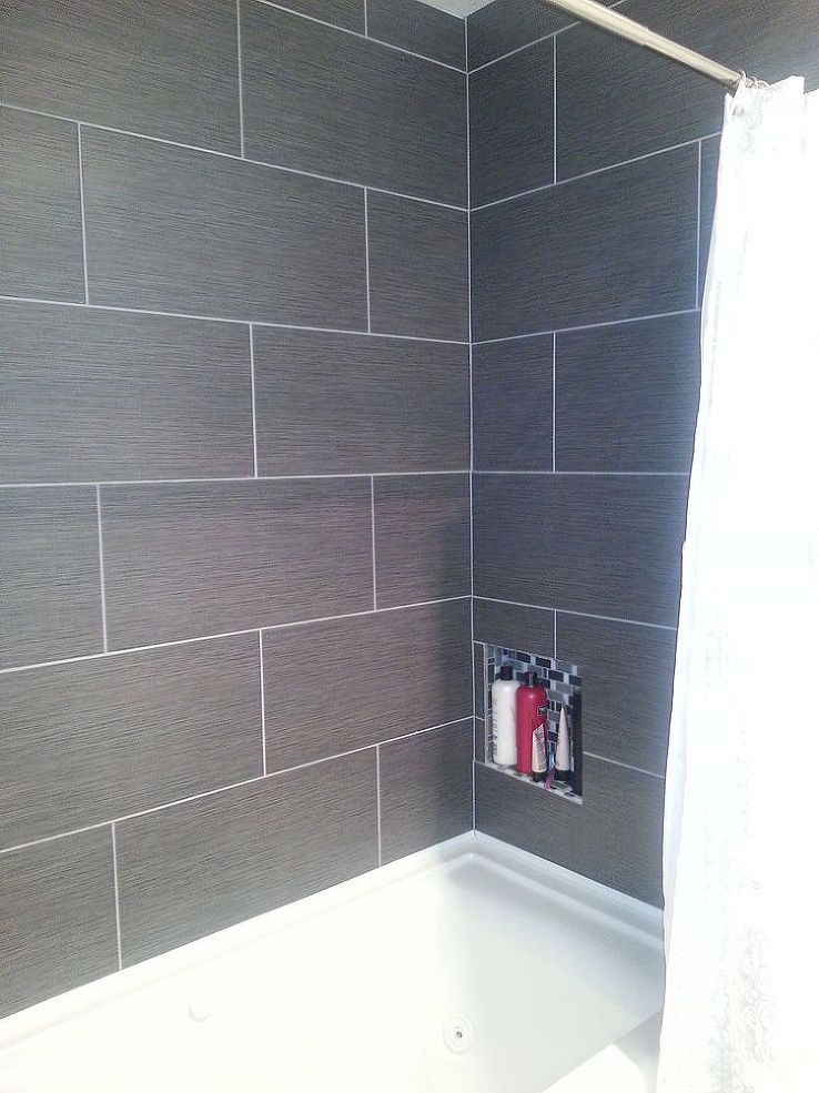 Small master bathroom makeover master bathrooms bath for Bathroom grey tiles ideas