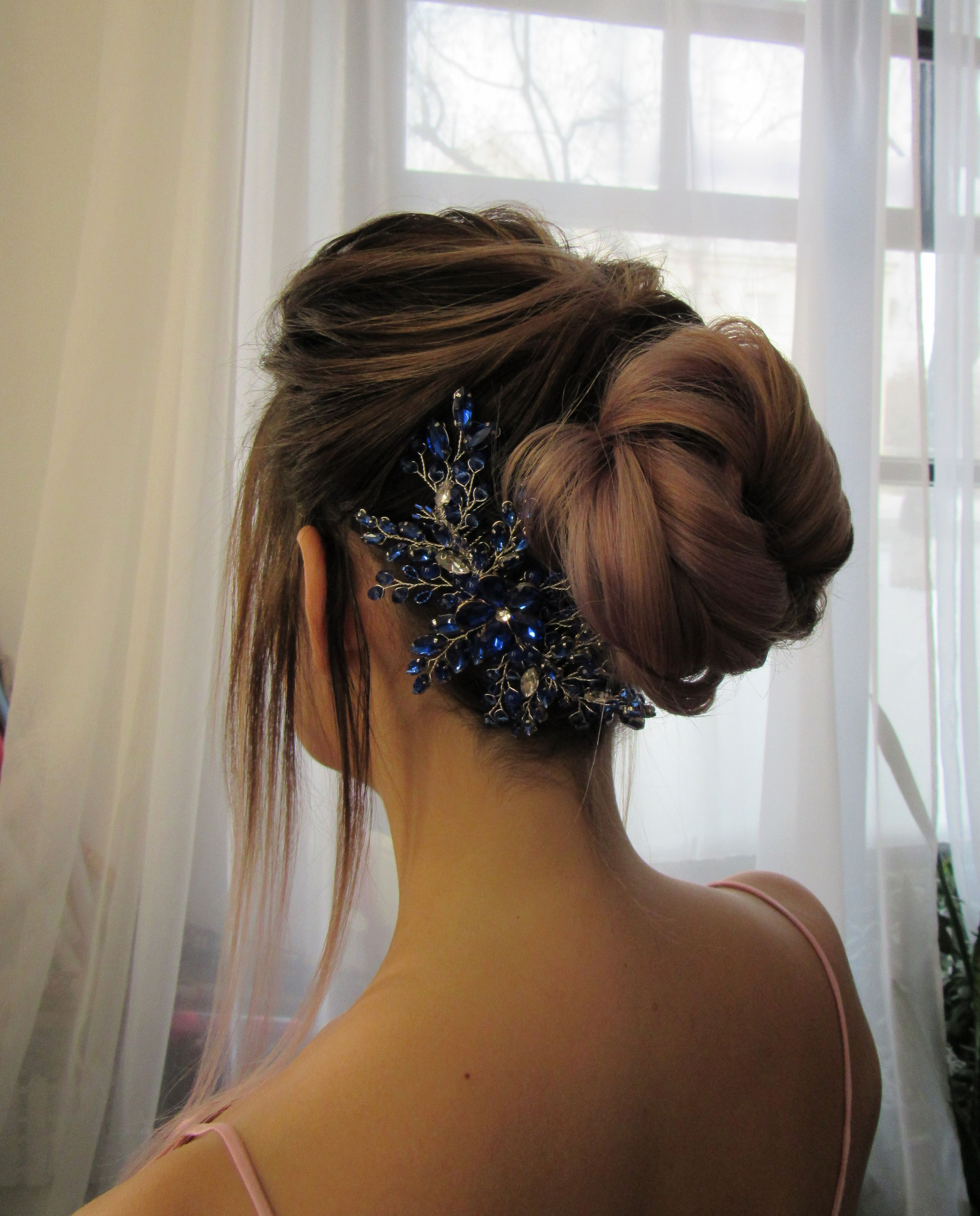 Beautiful Blue Bridal Hair Comb Wedding Headpiece Hair Comb