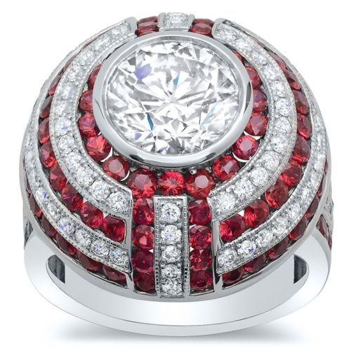 2-65Ct-Round-Cut-Diamond-Huge-Bezel-Ruby-Engagement-Ring-925-Sterling-Silver