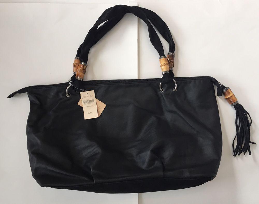 Coldwater Creek Black Bamboo Tote Purse Large Handbag Bag New Retail $69.95 #ColdwaterCreek #TotesShoppers