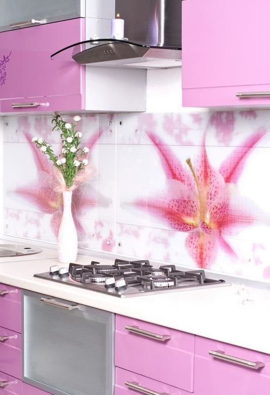 Original Backspash Tile Design Ideas Pink White Kitchen Floral Pattern  Kleiner Küchen Backsplash, Lila