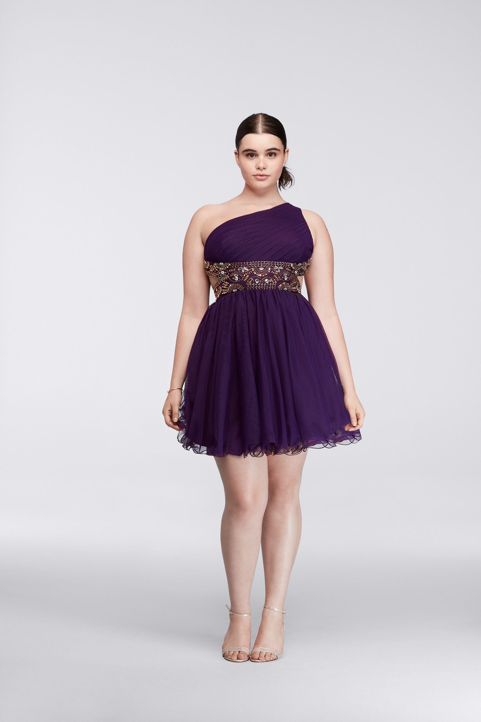 Pretty In Plum Plus Size Short Dress With Metallic Bodice