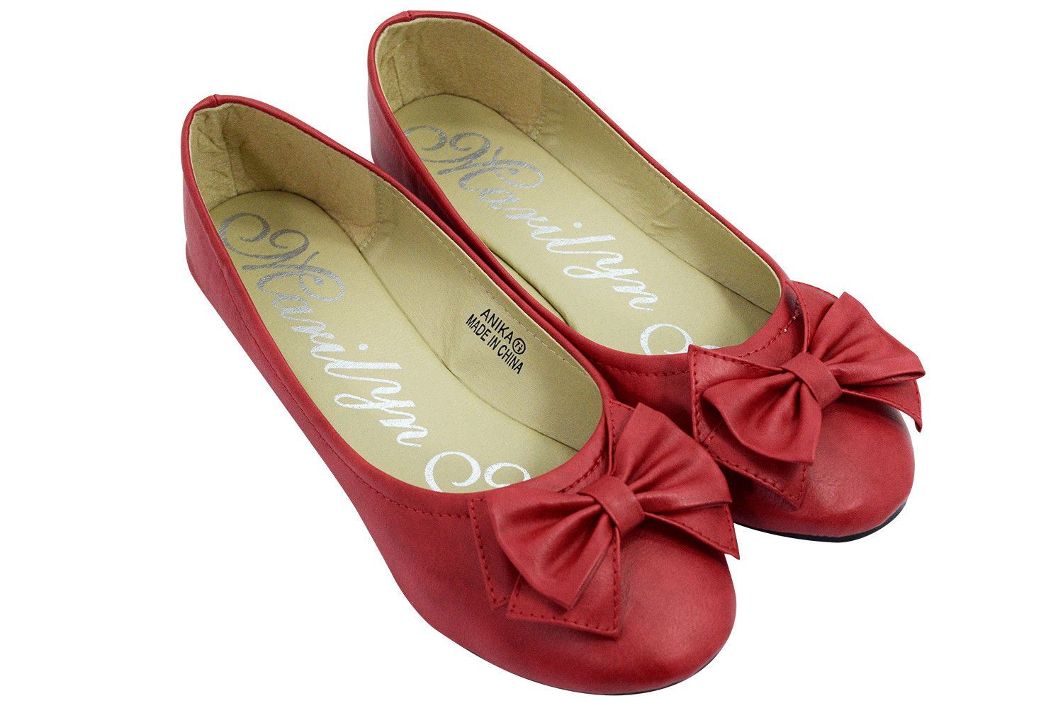 Rockabilly Pinup Good Lucky Red Bow Accent Flat Shoes Ballet Flats