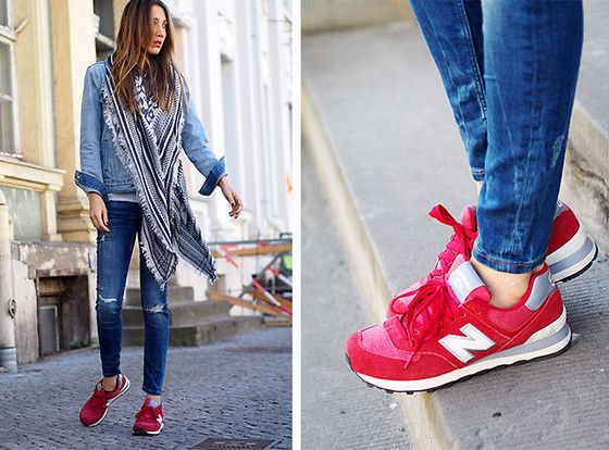 red new balance with jeans