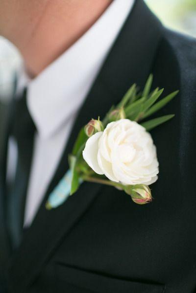 White Garden Rose + Rosemary Boutonniere. Photography: Karen Buckle  Photography   Karenbuckle.com