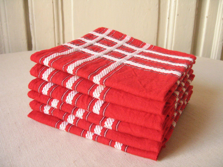 6 Serviettes De Table Rouges A Rayures Blanches Serviette En Coton Tisse Linge De Table Retro Vintage Francais Lmsovint Etsy French Vintage Etsy Teams
