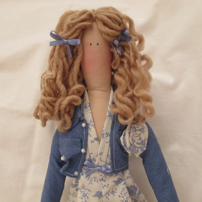 Tilda Doll - Denim blue toile fabric outfit