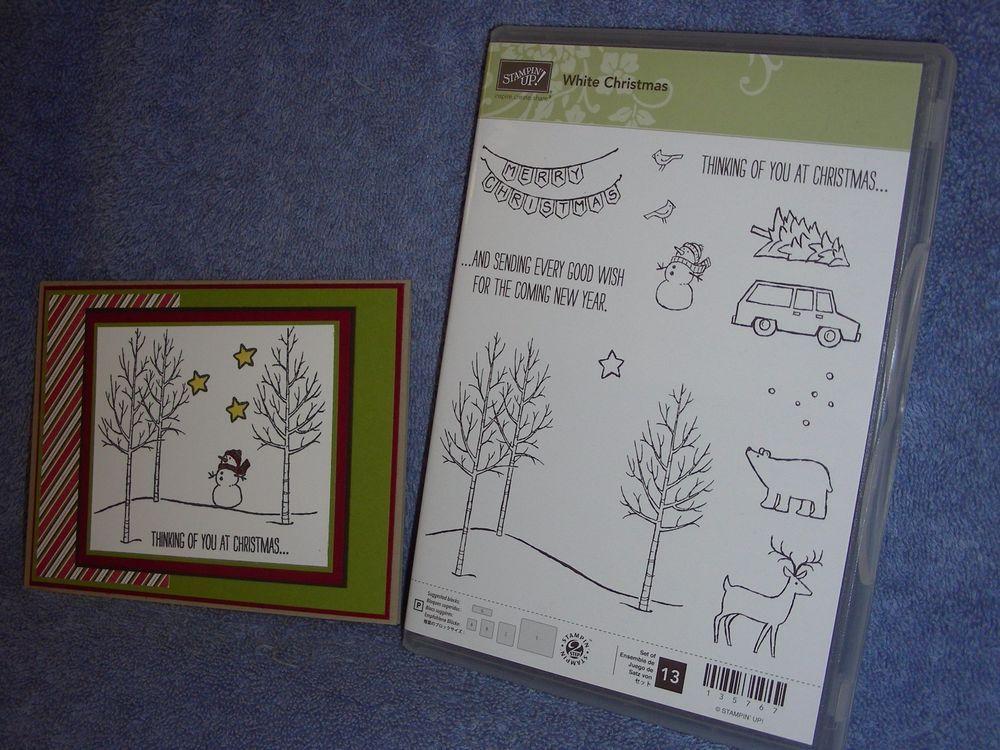 stampin up WHITE CHRISTMAS-Christmas trees-snowman-bear-deer