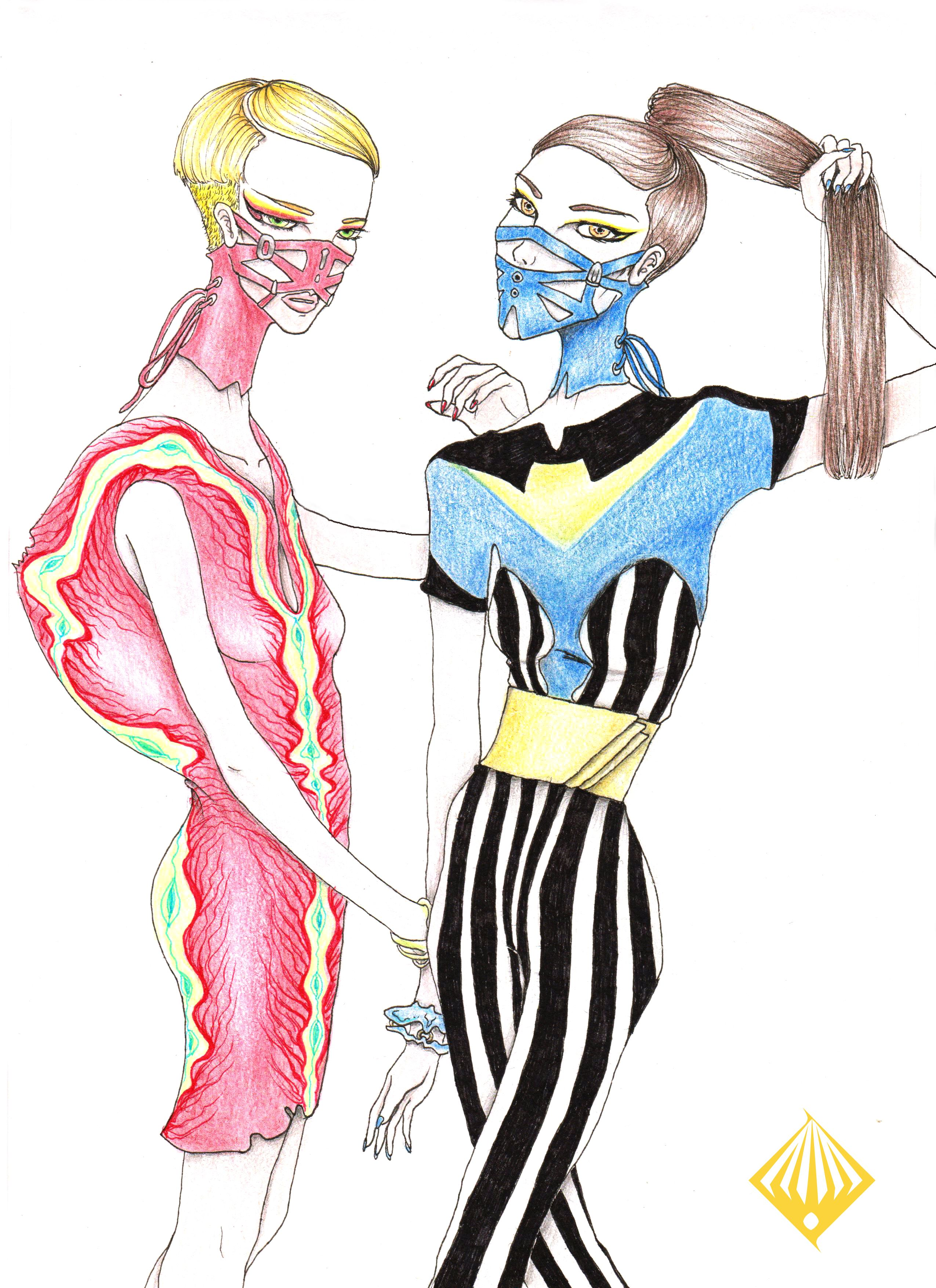 leder mund by hie cc fashion illustration bondage outfit art [ 2550 x 3507 Pixel ]