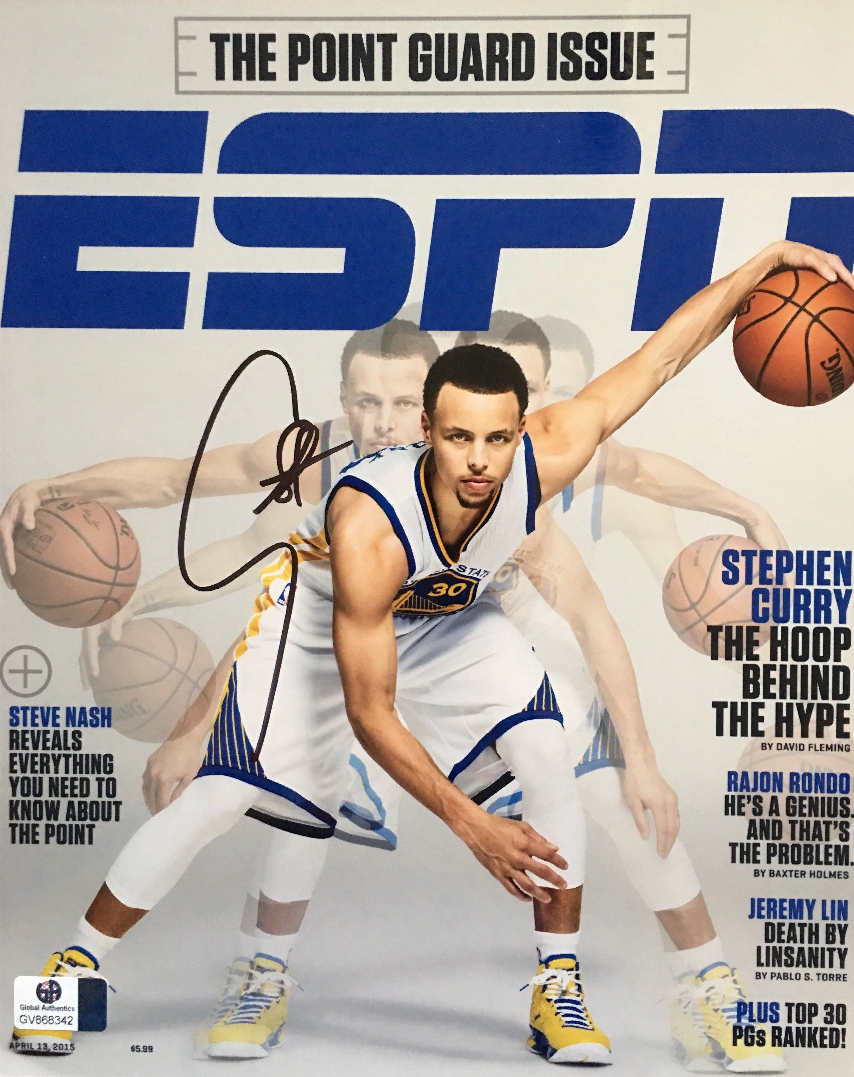 cd616b72a94 Stephen Curry Warriors Signed 8x10 ESPN Magazine Cover Photo ...