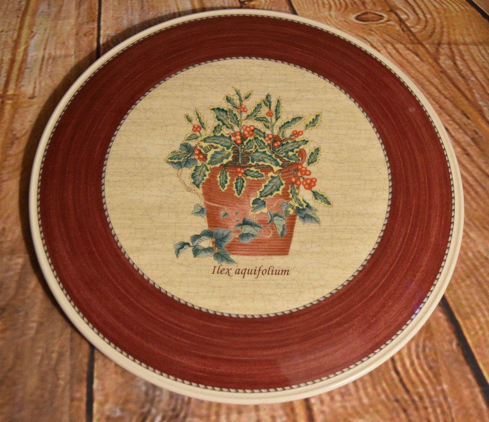 Wedgwood Sarah\'s Garden Christmas Red Tart Cake Plate Hex Aquifolium ...