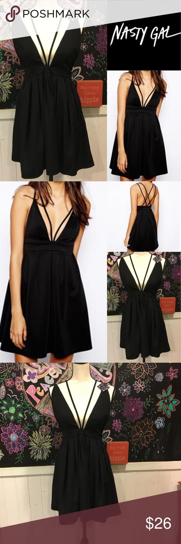 "ae03014d3494b5 Nwts Nasty Gal szS sexy black Dress New with tags nasty gal sexy black dress.  Plunge neckline and fun back. Waist is 26"" Nasty Gal Dresses"