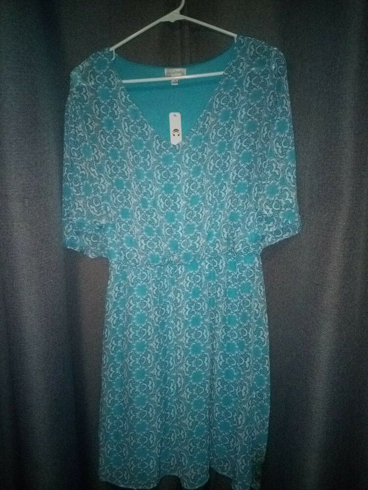 New Teal Blue Patterned Tunic Dress Fashion Clothing