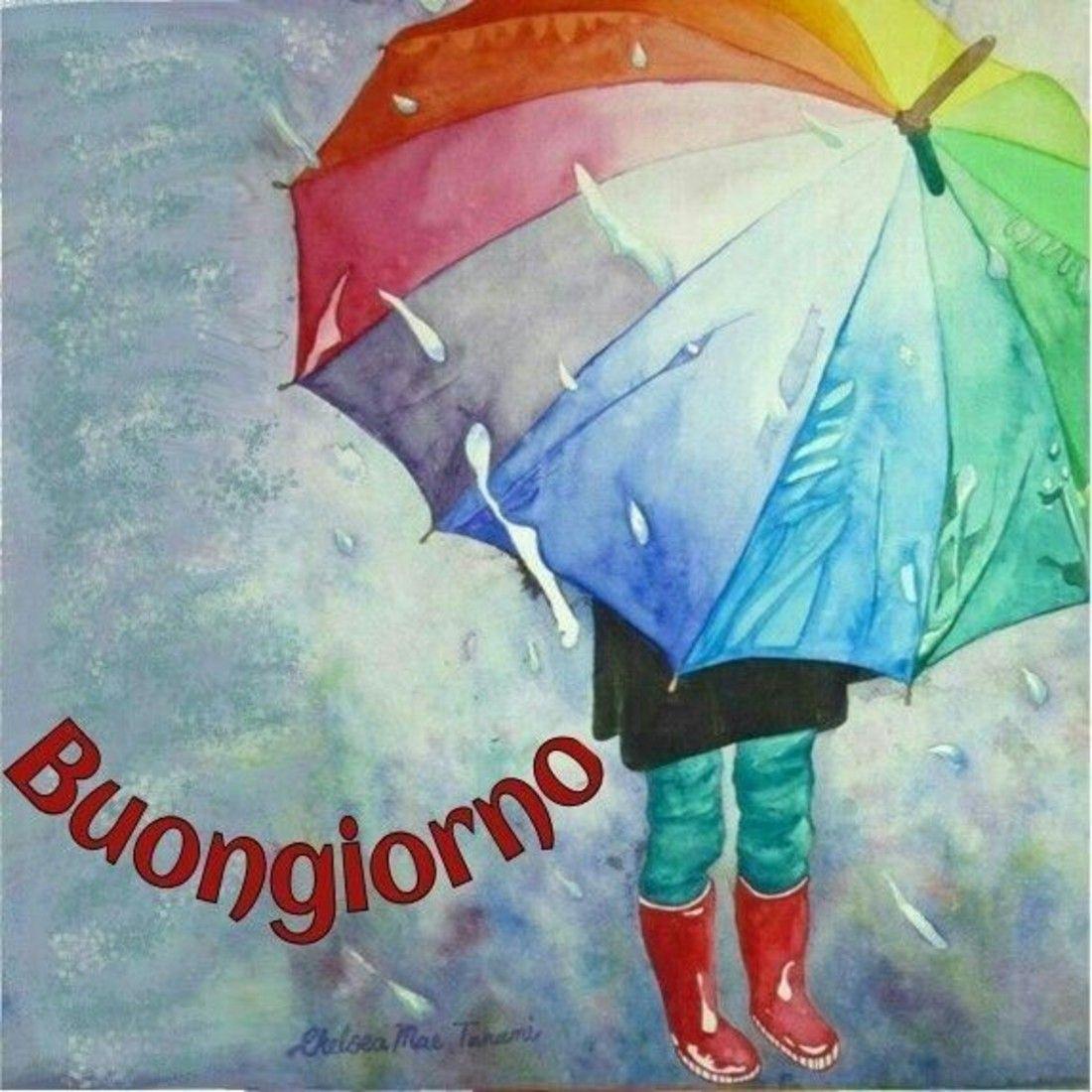 Immagini Buongiorno Giornata Piovosa Pioggia Watercolor