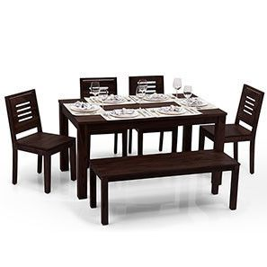 Arabia   Capra 4 Seater + Bench Dining Table Set (Mahogany Finish)