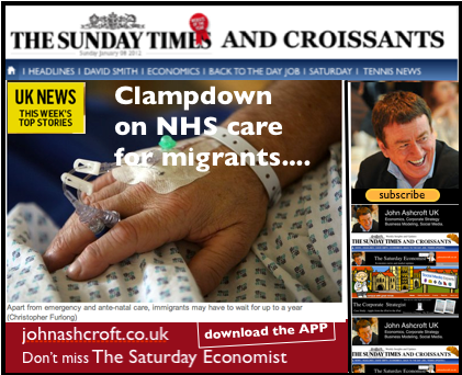 The Sunday Times and Croissants - clampdown on NHS care for migrants