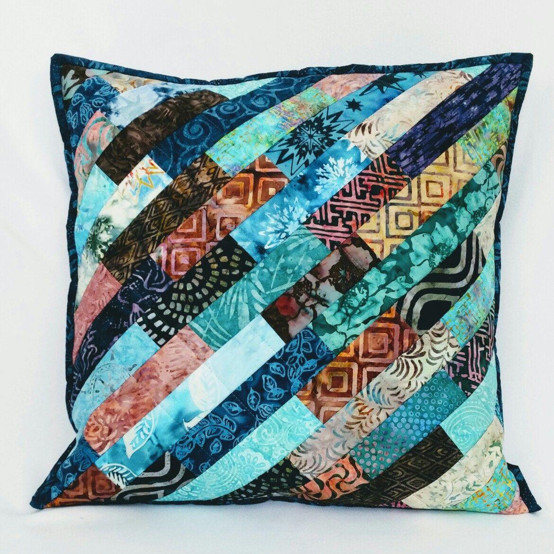 Blue Patchwork Pillow Quilted Pillow Cover Throw Pillow Accent Pillow Batik Pillow 18 x 18 Pillow Pillow Sham Decorative Pillow