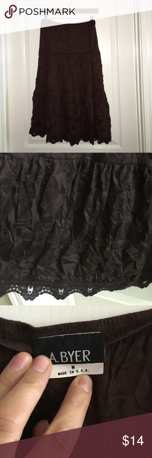 """Brown Crinkle Skirt by A.Byer size medium Brown Crinkle Skirt by A.Byer size medium length measures 28"""" waist is a stretchy band at stretches to 30"""" fun skirt! A.Byer  Skirts"""