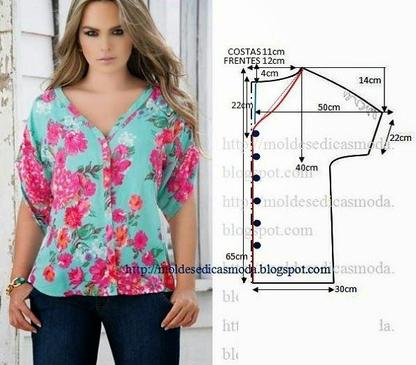 BLUSA FLORAL FEMININA | Patterns, Sewing patterns and Sewing projects