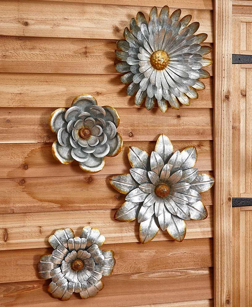 galvanized metal wall flowers metal wall flowers metal on wall art decor id=98156