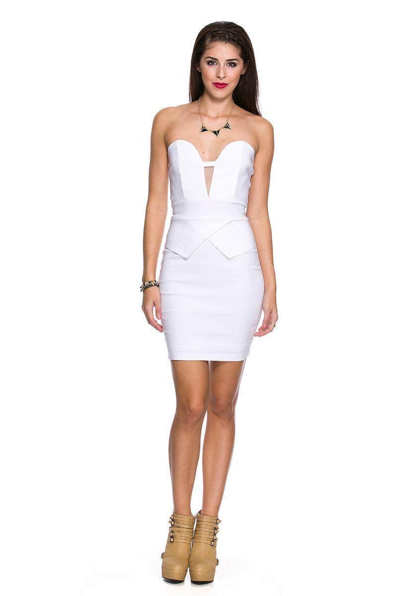Foreign Exchange Women Dresses Night White Peplum Dress