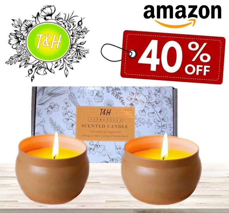 2 x 6 Ounce, Tin Citronella Candles Outdoor Indoor Portable Travel tin 2 Pack Gift Set Pure Soy Wax Gift Set 60 Hour Burn Highly Scented Long Lasting