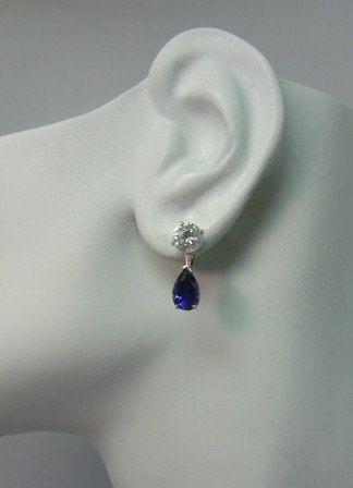 Earring Jackets 14k White Gold Dangle Pear Shaped Blue By Earcuffs 159 00