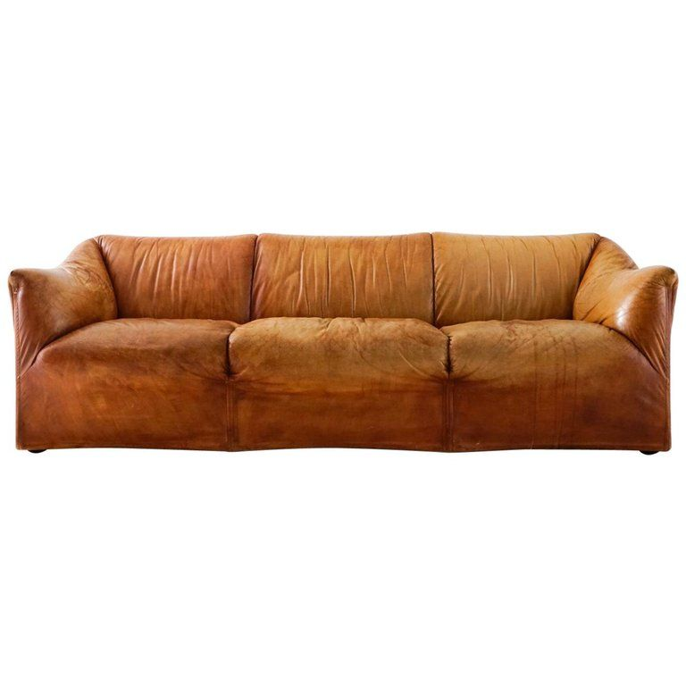 Aged Cognac Leather Tentazione Three Seat Sofa By Mario Bellini For Cassina Distressed Leather Sofa Distressed Leather Leather Sofa