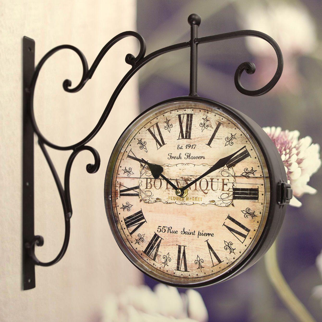 Round Botanique Roman Numeral Scroll Wall Hanging Clock Wall Clock Wall Clock Design Hanging Clock