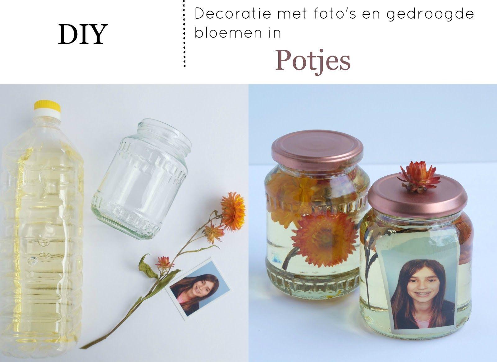 Elsarblog decoratie met foto 39 s en gedroogde bloemen in potjes diy diy pinterest doe het - Foto decoratie ...