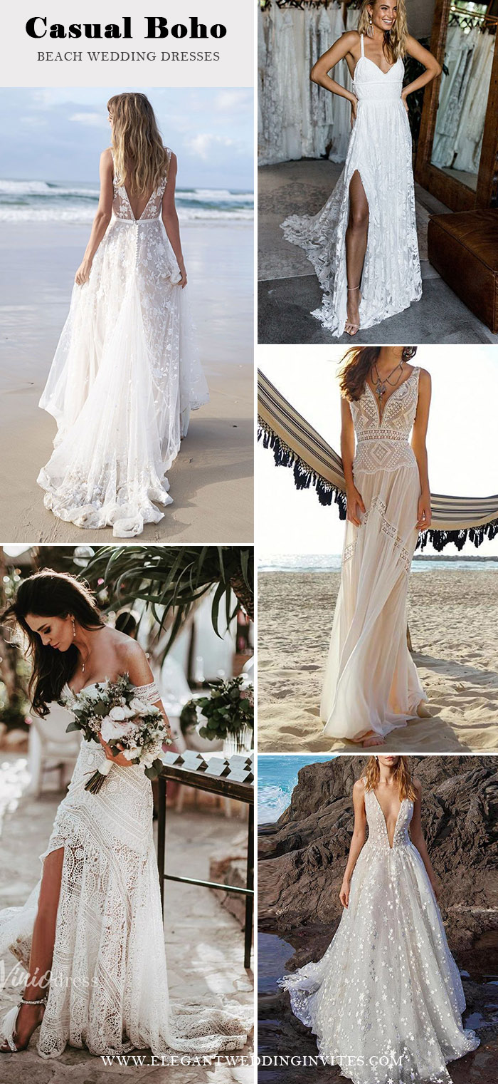 25 Intimate Boho Themed Summer Beach Wedding Ideas Elegantweddinginvites Com Blog In 2020 Casual Beach Wedding Dress Beach Wedding Dress Boho Beach Theme Wedding Dresses,Wedding Guest Navy Blue Formal Dress Plus Size
