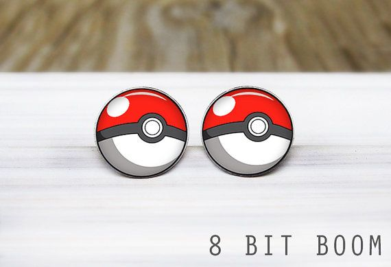 Pokeball Post Earrings Silver Stud Surgical By 8bitboom 16 50