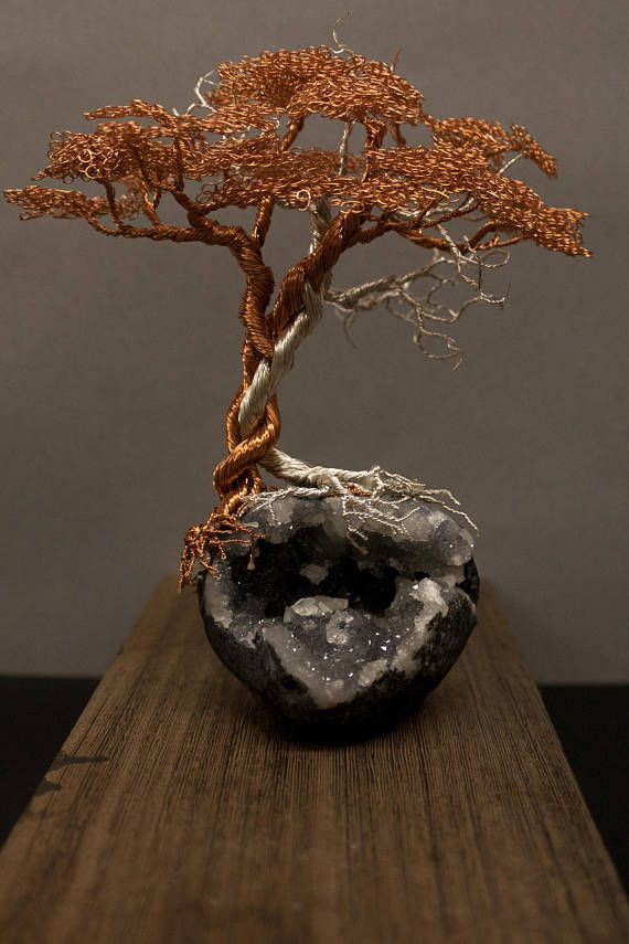 Copper and Silver plated Copper Wire Tree Sculpture on a MM Quartz ...