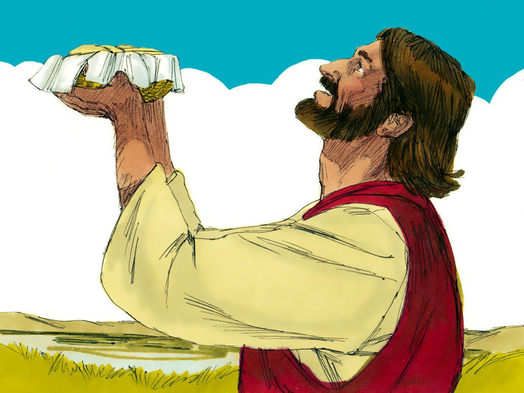Jesus took the five loaves and two fish looked up into for Loaves and fish