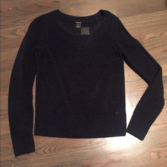 Club Monaco Sweater Perforated navy crew neck sweater! Club Monaco Sweaters Crew & Scoop Necks