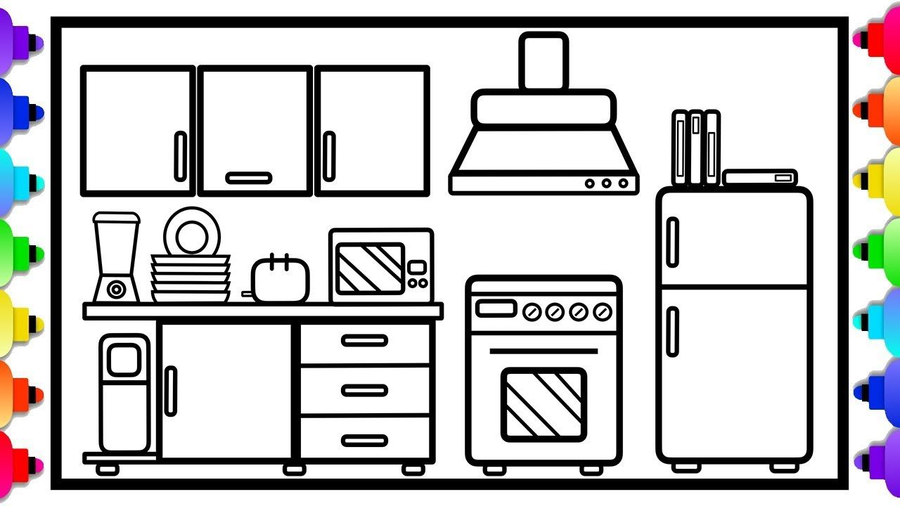 Glitter Kitchen For Kids Easy Step By Step Kitchen Coloring Page Coloring Pages Easy Coloring Pages Printable Coloring Book