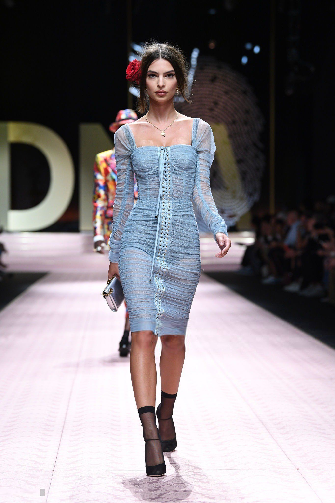 f52fc6db Emily Ratajkowski in baby blue dress on the runway for Dolce & Gabanna.