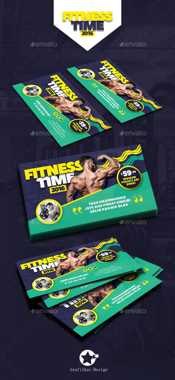 Fitness Time Business Card Templates Creative Template Psd Indesign Indd Here