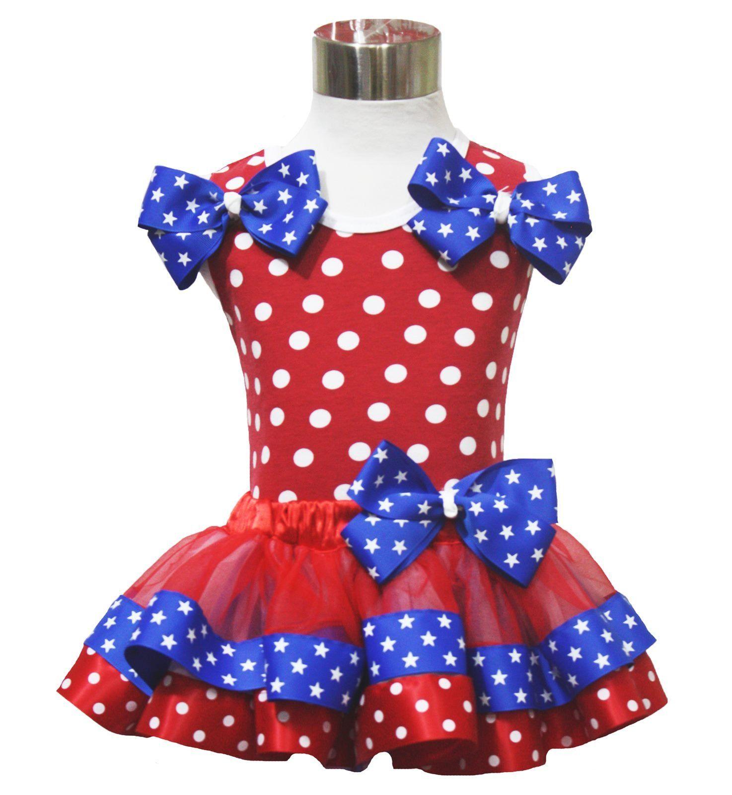 Petitebella USA Sequin LOVE Patriotic Stars Red Cotton Shirt Blue Skirt Set 1-8y