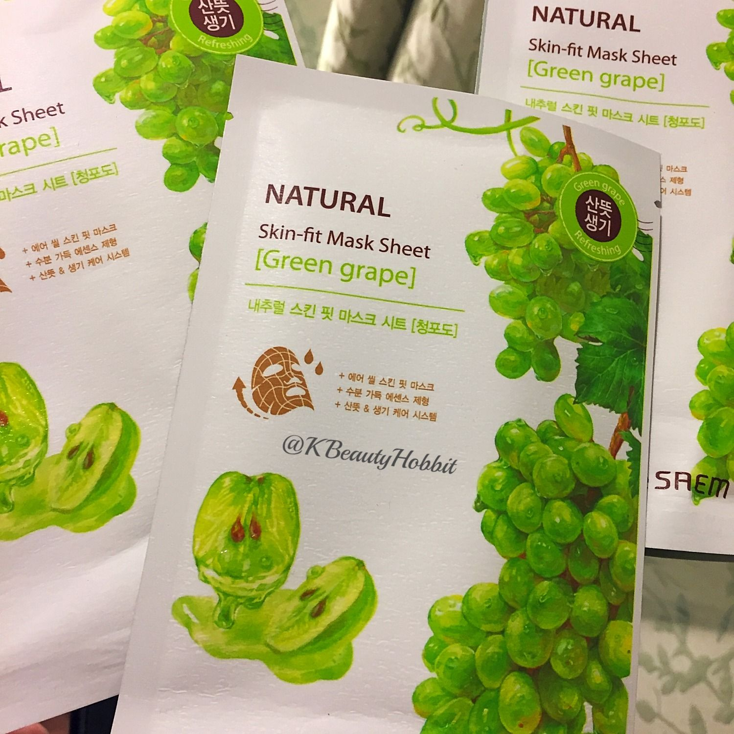 The Saem Natural Skin Fit Mask Sheet Green Grape Review Green Grapes Natural Skin Grapes