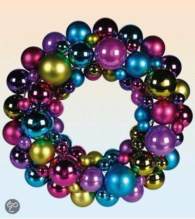 Gekleurde Kerstballen Krans 30 Cm Kerst Ornament Wreath Wreaths